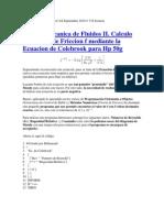 Cálculo del factor de fricción mediante la ecuación de Colebrook