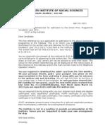 Call Letter - Admit Card -Ph. D- Final
