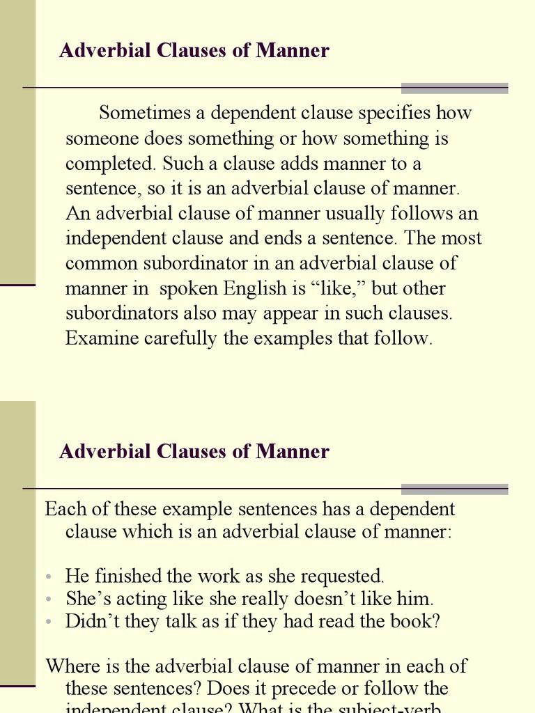 Adv Manner Clause Sentence Linguistics