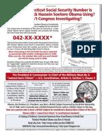 Whose CT SSN is President Barack Hussein Soetoro Obama Using?  Wash Times Natl Wkly 25 Apr 2011 pg 5