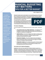Financial Budgeting That Matters - 8 Tips for a Better Budget