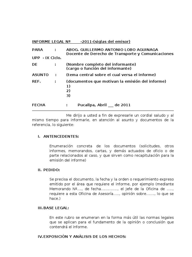 formato de informe legal