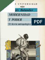 Balandier Georges Modern Id Ad y Poder El Desvio Antropologico