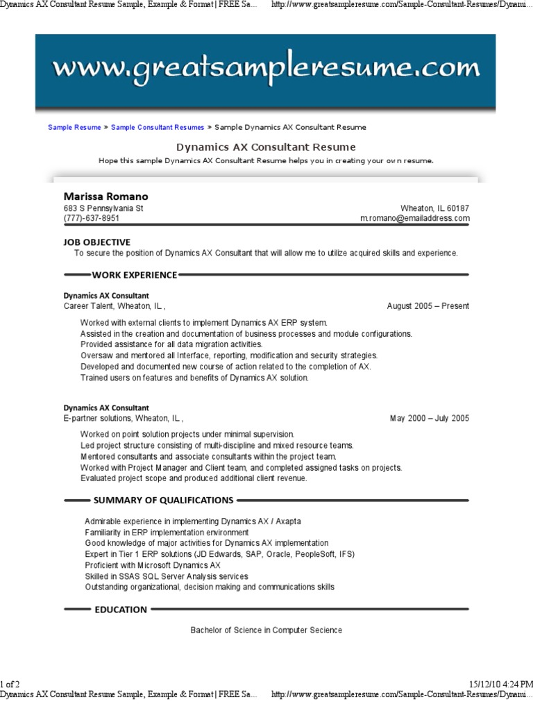 Dynamics ax consultant resume sample example format free dynamics ax consultant resume sample example format free sample resume for dynamics ax consultant enterprise resource planning information yelopaper Choice Image