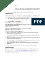 Training Outline of internship report