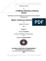 Analysis of Market Reaction to Bonus Issues-Sneha D-04107