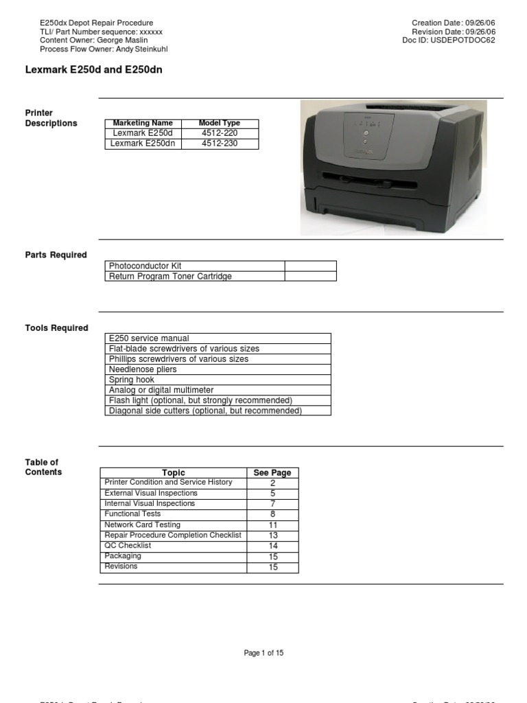 lexmark 4300 series all in one printer service and repair manual