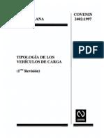 COVENIN 2402-97-TIPOLOGIA DE LOS VEHICULOS DE CARGA
