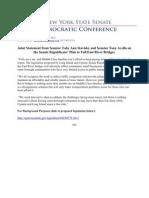 Joint Statement from Senator Toby Ann Stavisky and Senator Tony Avella on the Senate Republicans' Plan to Toll East River Bridges