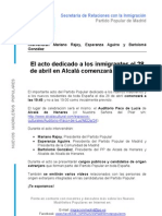 Cambio de Hora Gran acto de inmigración en Alcalá - 28 de abril