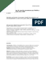 Mortalidad y carga de muertes prematuras por flebitis y tromboflebitis, Cuba años 2000 y 2005