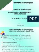 Aula4 Localizacao Das Empresas e Arranjo Fisico