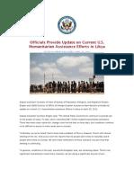 Officials Provide Update on Current U.S. Humanitarian Assistance Efforts in Libya