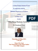 Archives Lecture by Dr. Henderson Carter - Why Keep Business Archives? (Barbados)