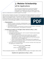 Meister- Call for Applications 2011- 2012