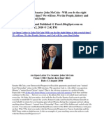 An Open Letter to Senator John McCain - 12 Aug 2010