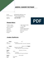 Agha Abdul Karim Pathan Cv (New)