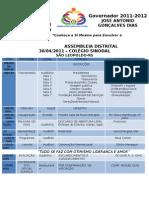 [D.4670] AssembléiaRotaryProgramação