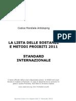 2011 Lista Sostanze e Metodi Proibiti