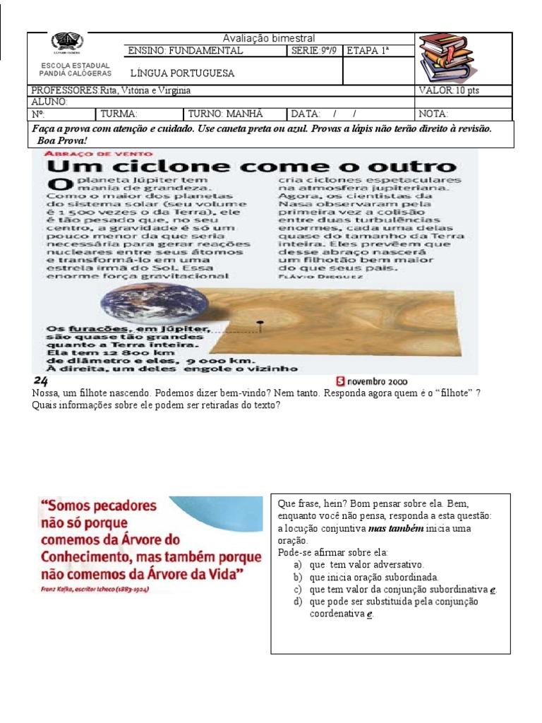Prova Português 9º Ano