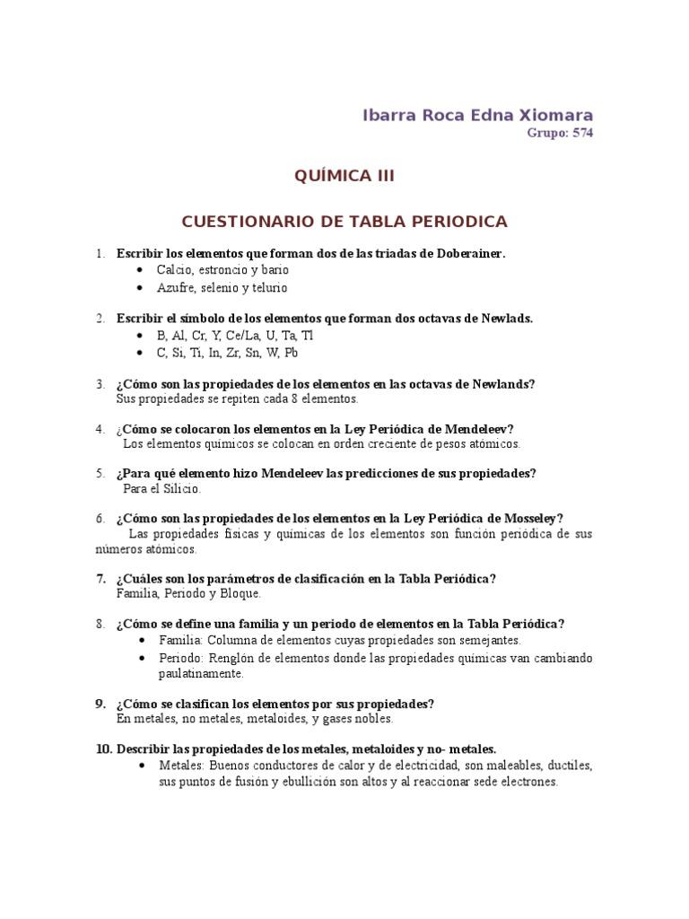 cuestionario de la tabla periodica - Tabla Periodica De Los Elementos Quimicos Metales Y No Metales