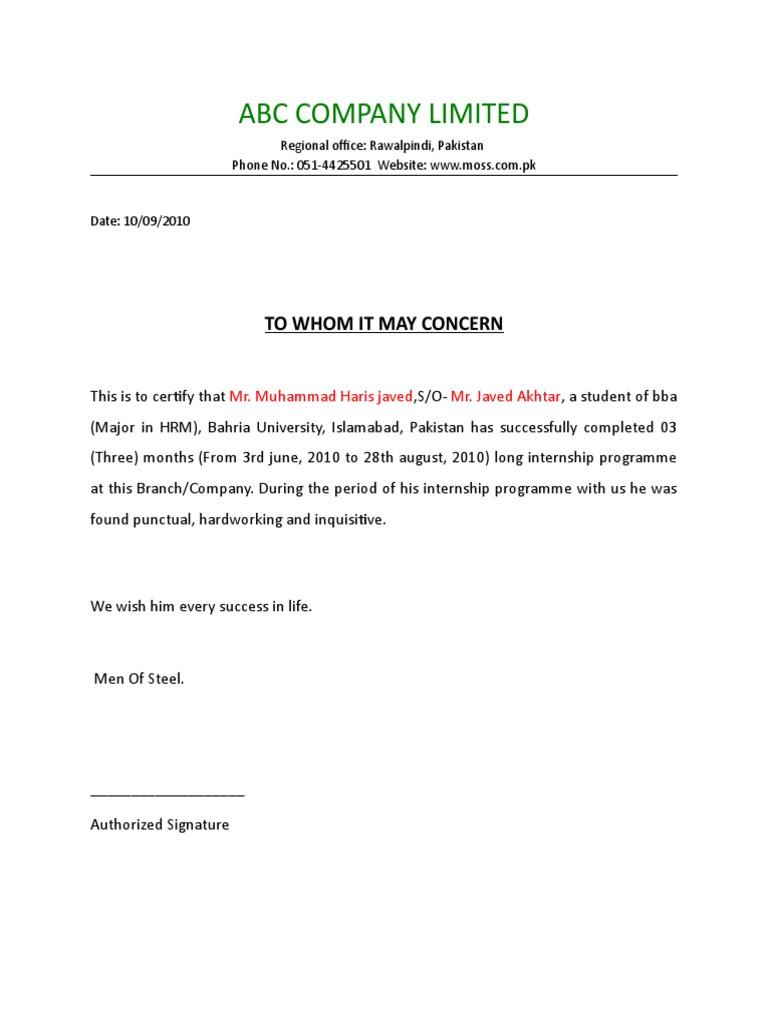 Summer Internship Completion Certificate Format Sample – Sample Letter of Completion