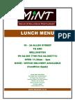 The Mint Lunch Menu