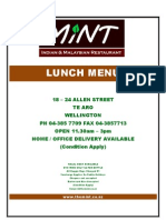 The Mint Lunch Menu