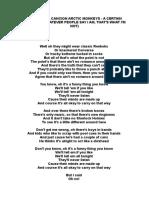 Letra de La Cancion Arctic Monkeys