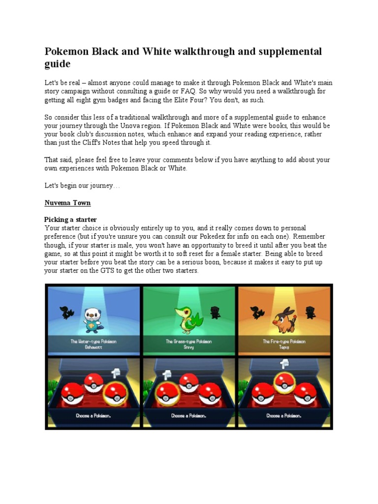 Pokemon Black And White Lite Walkthrough Pokemon Leisure Charles can be found riding his motorbike in the west of the city. scribd