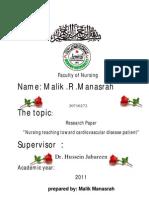 """Nursing teaching toward cardiovascular disease patients in palestine  ""malik manasrah"
