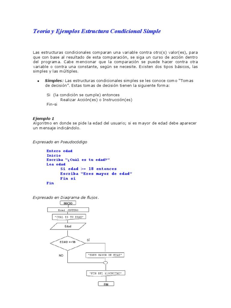 Ejemplos resueltos estructura condicional simple ccuart Images