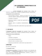 ESTRUCTURA EXÁMENES TRIMESTRALES PRIMARIA
