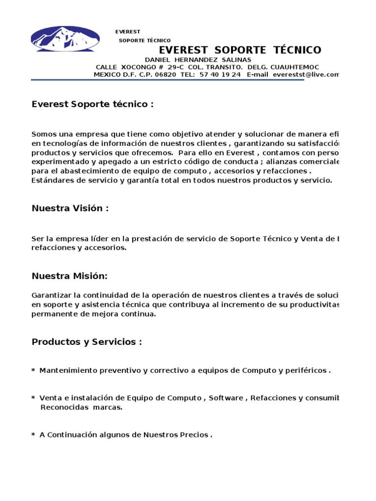 Hermosa Mantenimiento De Las Instalaciones Carta De Presentación ...