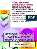 MÉTODOS PARA ANÁLISIS DE TEXTOS (SECUNDARIA)