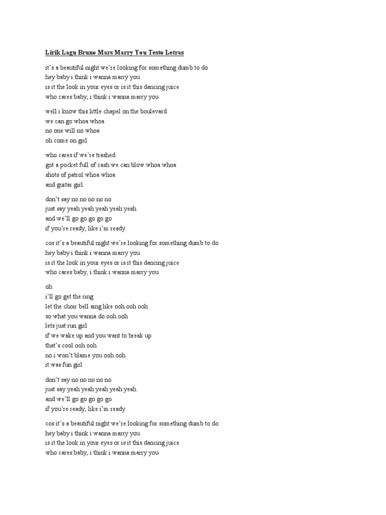 Lirik Lagu Bruno Mars Marry You Testo Letras