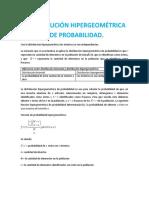 DISTRIBUCIÓN HIPERGEOMÉTRICA DE PROBABILIDAD