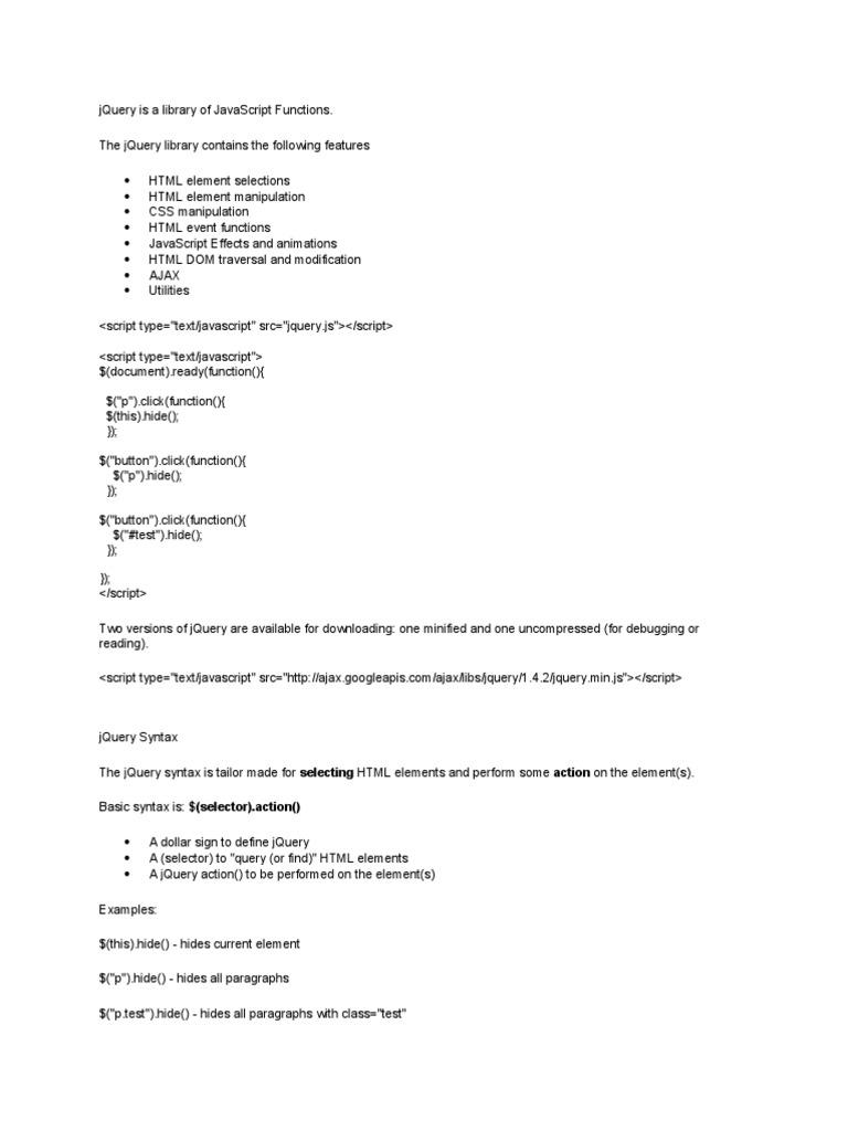 Jquery Notes w3schools