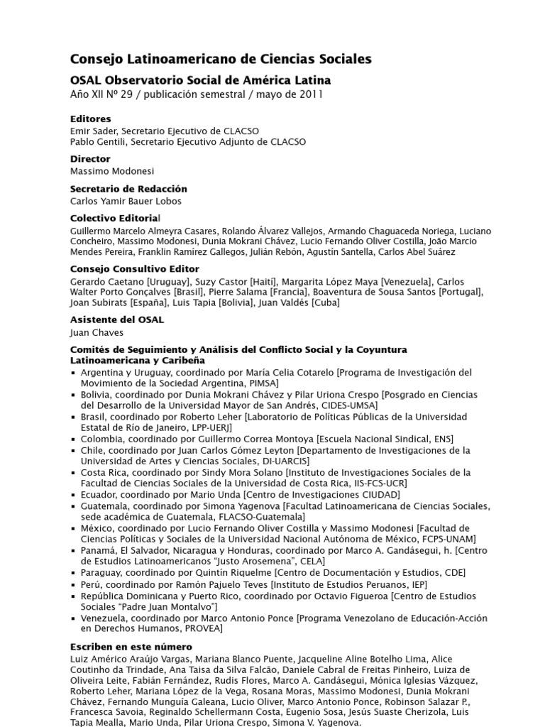 Observatorio Social de América Latina OSAL 29