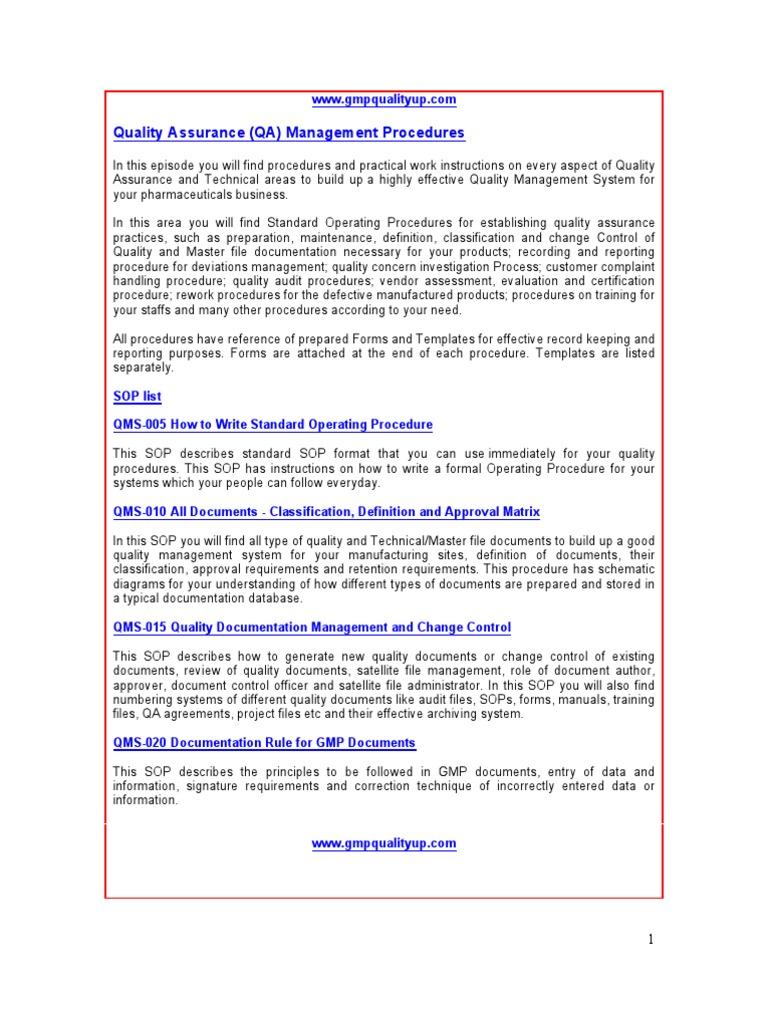 gmp quality assurance procedures verification and validation