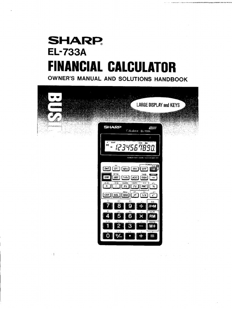 Sharp EL733A Manual