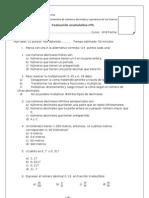 evaluacion 6º decimales