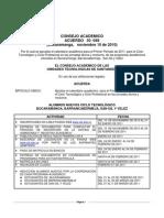 CALENDARIO ACADEMICO I-2011