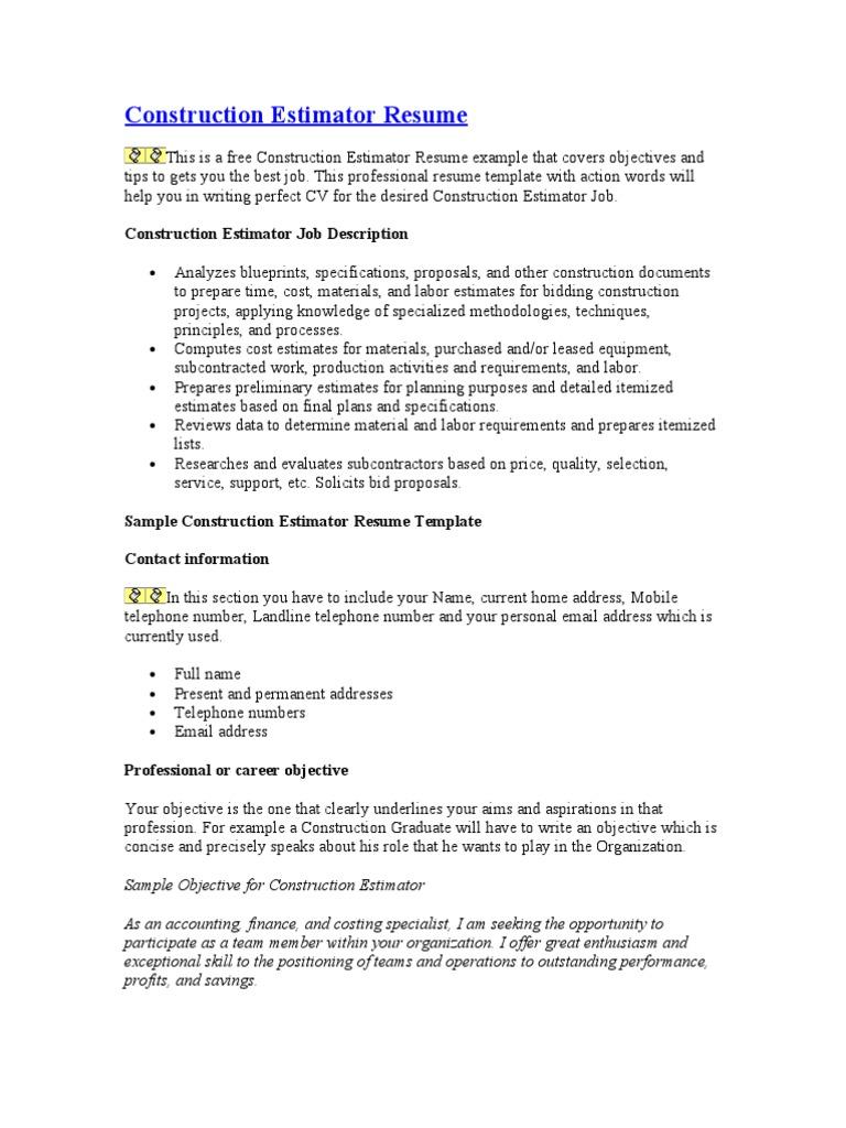 construction estimator resume business economics economies - Objective For Construction Resume