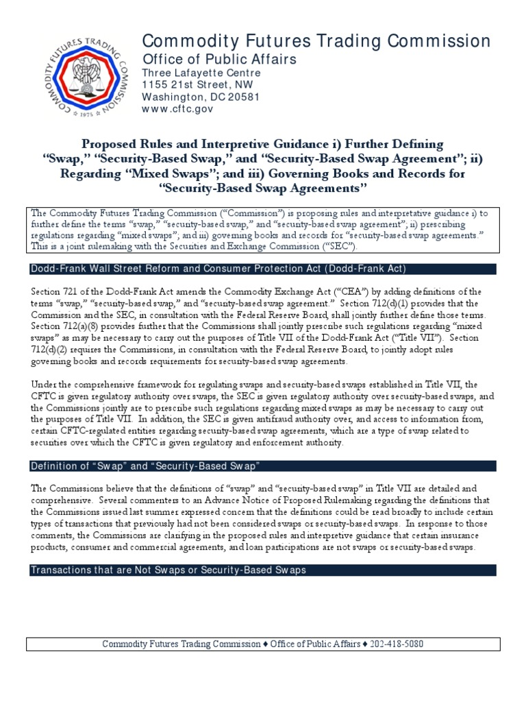 Pd Factsheet Commodity Futures Trading Commission Doddfrank
