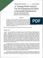 Entrepreneur Training Needs