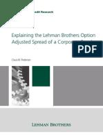Lehman Brothers Pedersen Explaining the Lehman Brothers Option Adjusted Spread of a Corporate Bond