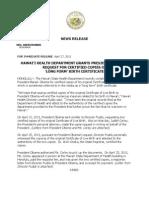 NEWS RELEASE - PRESIDENT OBAMA'S BIRTH CERTIFICATE