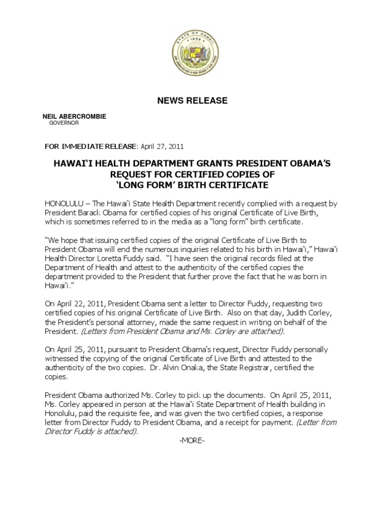 News release president obamas birth certificate birth news release president obamas birth certificate birth certificate barack obama xflitez Gallery