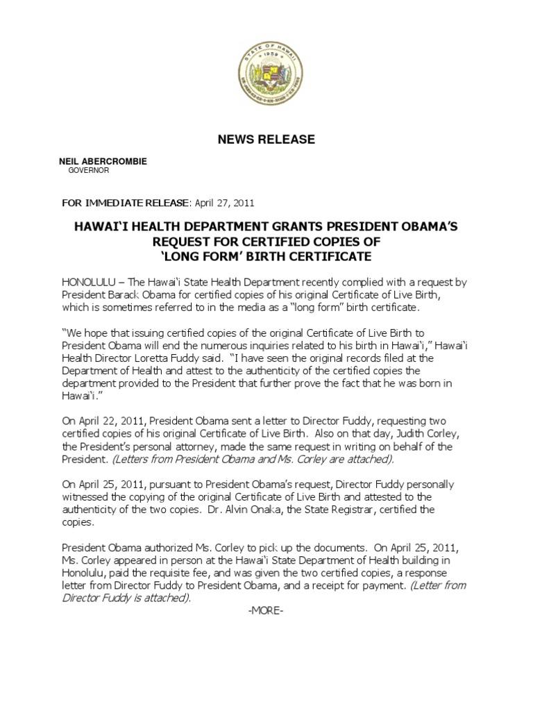 News Release President Obamas Birth Certificate Birth